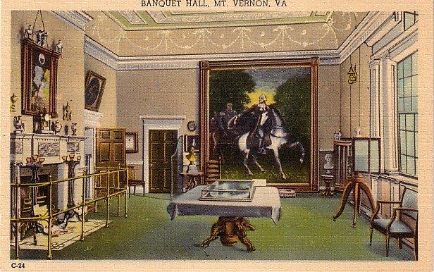 Banquet Hall at Mt. Vernon Virginia VA Linen Postcard - 0060