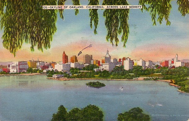 Skyline of Oakland California Across Lake Merritt CA Linen Postcard - 0063