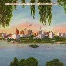 Skyline of Oakland California Across Lake Merritt CA Linen Postcard - 0063