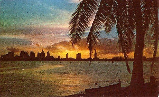 Sunset Skyline from MacArthur Causeway in Miami Florida FL Chrome Postcard - 0070