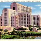 Los Angeles County General Hospital in California CA 1937 Linen Postcard - 0079