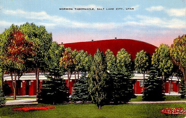 Mormon Tabernacle in Salt Lake City, Utah UT Linen Postcard - 0088