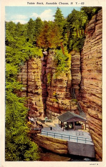 Table Rock, Ausable Chasm New York NY 1934 Curt Teich Linen Postcard - 0091