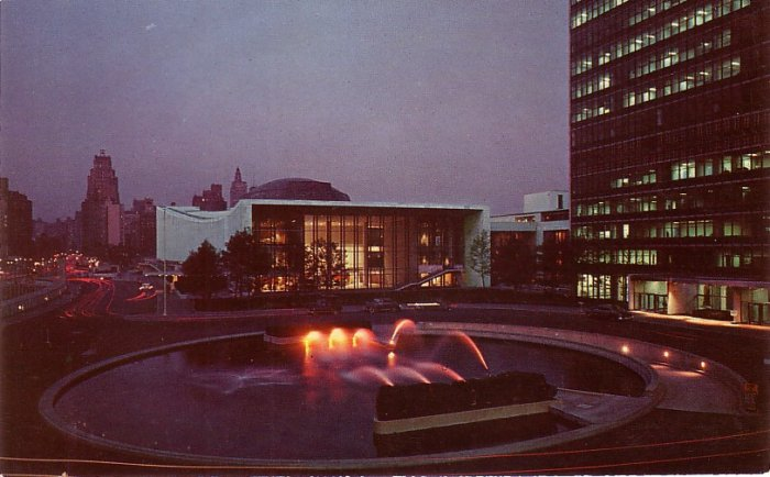 Night View of the United Nations in New York City NY, Chome Postcard - 0113