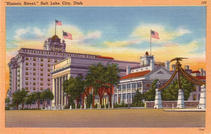 Historic Street in Salt Lake City Utah UT Mid Century Linen Postcard - 0131