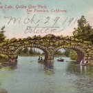 Rustic Bridge over Stow Lake in Golden Gate Park San Francisco California CA Vintage Postcard - 0135