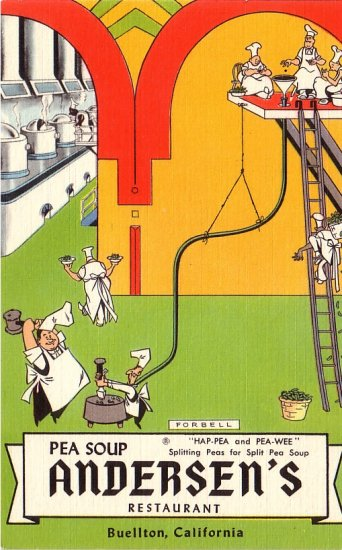 Pea Soup Andersen's Restaurant in Buellton California CA Linen Advertising Postcard - 0138