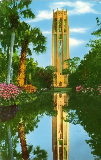 The Singing Tower in Lake Wales Florida FL Curt Teich 1951 Chrome Postcard - 0144