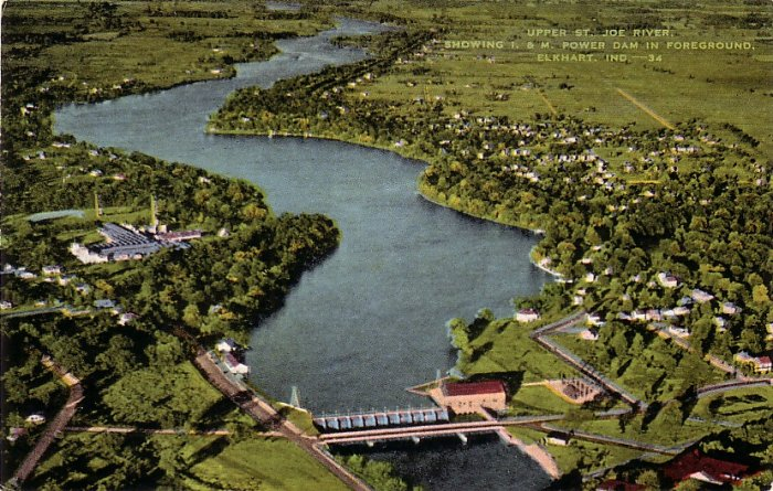 Upper St. Joe River  and Power Dam in Elkhart Indiana IN Linen Postcard - 0149