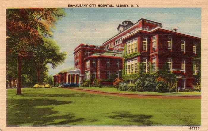 Albany City Hospital in New York NY,  Mid Century Linen Postcard - 0150
