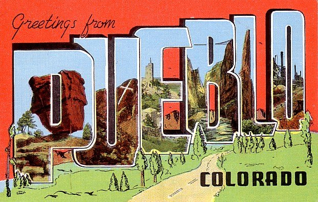 Greetings from Pueblo Colorado CO Large Letter Linen Postcard - 0203