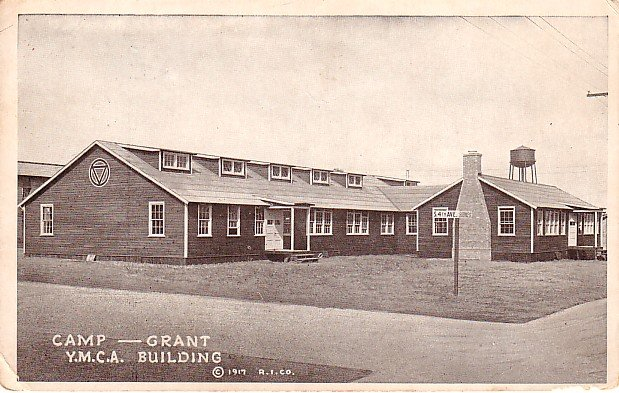 Camp Grant YMCA Building in Rockford Illinois IA 1917 Vintage Postcard - 0221