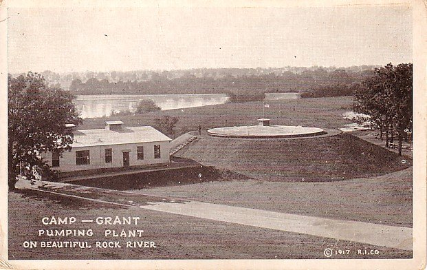 Camp Grant Pumping Plant on Rock River in Rockford Illinois IL 1917 Vintage Postcard - 0222