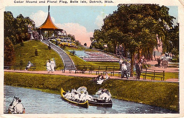 Cedar Mound and Floral Flag at Belle Isle in Detroit Michigan MI 1925 Vintage Postcard - 0233