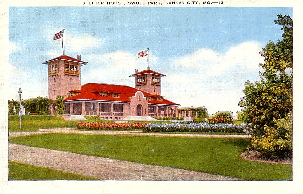 Shelter House at Swope Park in Kansas City Missouri MO Linen Postcard - 0251