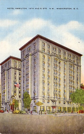 Hotel Hamilton in Washington DC Linen Postcard - 0264