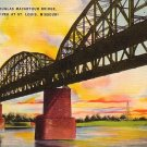 General Douglas MacArthur Bridge at St. Louis Missouri MO Linen Postcard - 0280