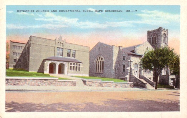 Methodist Church and Educational Building in Cape Girardeau Missouri MO Postcard - 0296