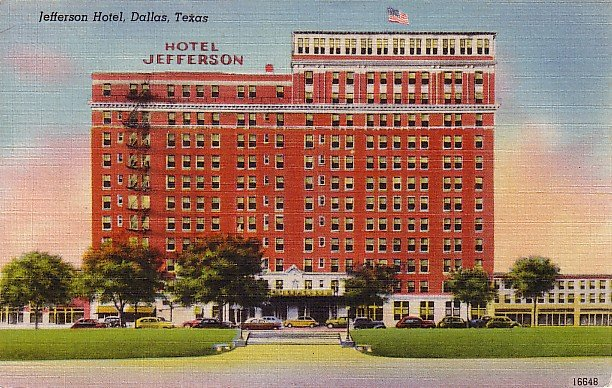 Jefferson Hotel in Dallas Texas TX Linen Postcard - 0313