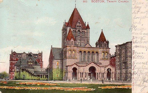 Trinity Church in Boston Massachusetts MA 1905 Vintage Postcard - 0316