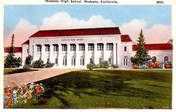 Modesto High School in California CA Vintage Postcard - 0343