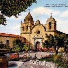 San Carlos Mission in Carmel California CA Linen Postcard - 0350