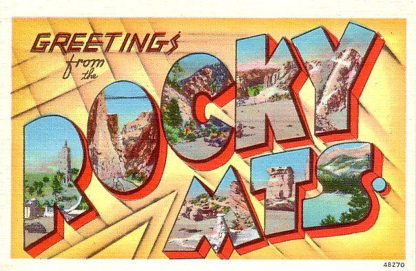 Greetings from Rocky Mountains Large Letter Linen Postcard - 0397