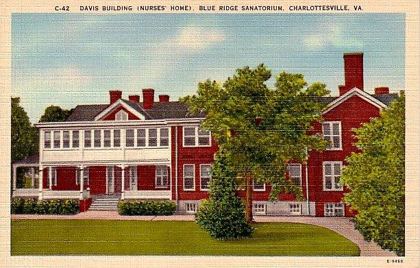 Davis Building at Blue Ridge Sanatorium in Charlottesville Virginia VA Linen Postcard - 0413
