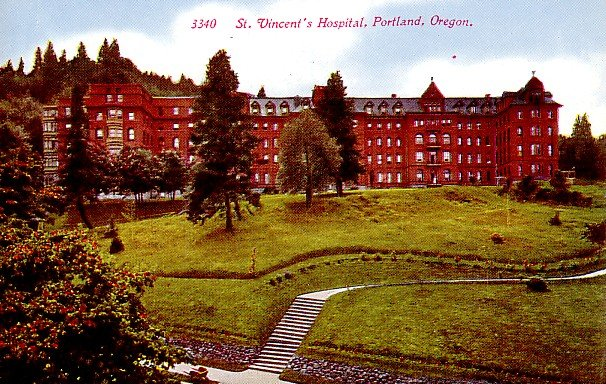 St. Vincent's Hospital in Portland Oregon OR Vintage Postcard - 0415
