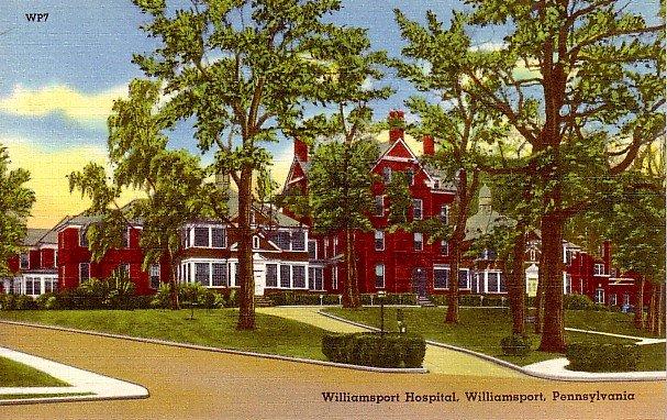 Williamsport Hospital in Pennsylvania Mid Century Linen Postcard - 0421