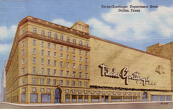 Titche Goettinger Department Store in Dallas Texas TX 1955 Curt Teich Linen Postcard - 0447