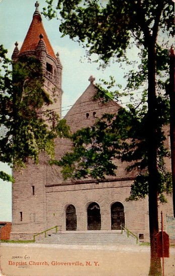 Baptist Church in Gloversville New York NY Vintage Postcard - 0450