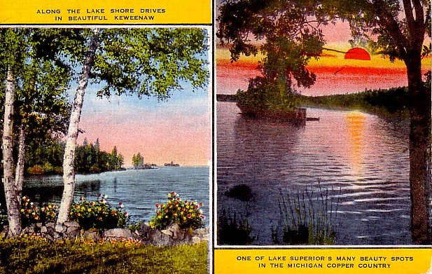 Lake Shore Drives in Keweenaw Michigan MI Linen Postcard - 0456