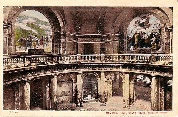 Memorial Hall at State House in Boston Massachusetts Vintage Postcard - 0470