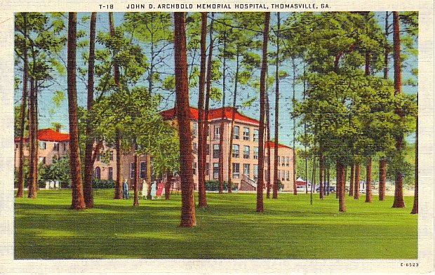 John D Archbold Memorial Hospital in Thomasville Georgia GA Linen Postcard - 0471