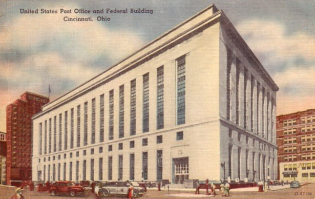 Post Office and Federal Building in Cincinnati Ohio OH, Linen Postcard - 0518