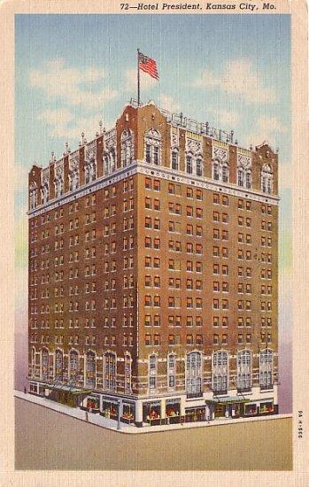 Hotel President in Kansas City Missouri MO 1939 Curt Teich Linen Postcard - 0529