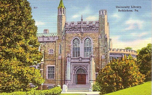 University Library in Bethlehem Pennsylvania Linen Postcard - 0574