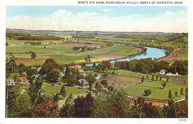 Muskingum Valley in Marietta Ohio OH Curt Teich Linen Postcard - 0582