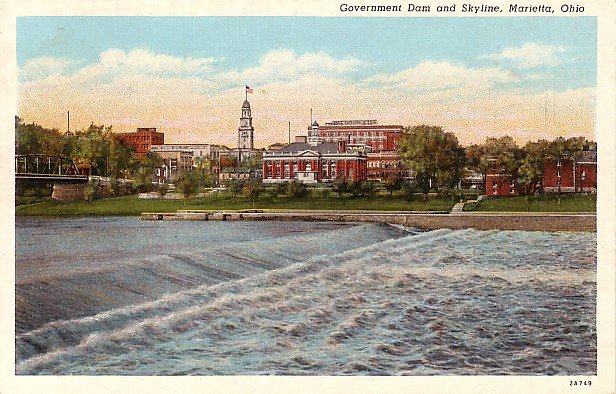 Dam and Marietta Skyline in Ohio OH, Curt Teich Linen Postcard - 0583