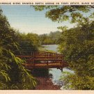 Rustic Bridge on Terry Estate in Black Mountain North Carolina NC Linen Postcard - 0538