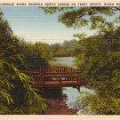 Rustic Bridge on Terry Estate in Black Mountain North Carolina NC Linen Postcard - 0538