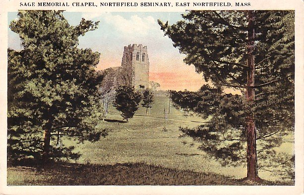 Sage Memorial Chapel at Northfield Seminary in Massachusetts MA Vintage Postcard - 0606