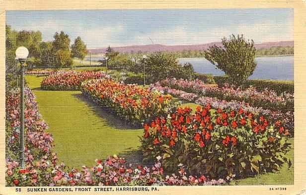 Sunken Gardens in Harrisburg, Pennsylvania PA 1933 Curt Teich Linen Postcard - 0617
