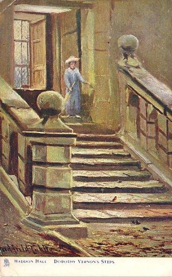 Haddon Hall, Dorothy Vernon's Steps Raphael Tuck & Sons Vintage Postcard - 0626