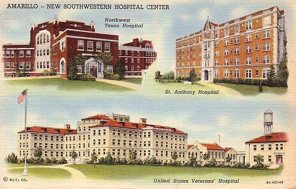 Southwestern Hospital Center in Amarillo Texas TX Curt Teich Linen Postcard - 0662