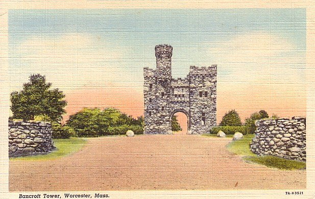 Bancroft Tower in Worcester Massachusetts MA 1937 Curt Teich Linen Postcard - 0684