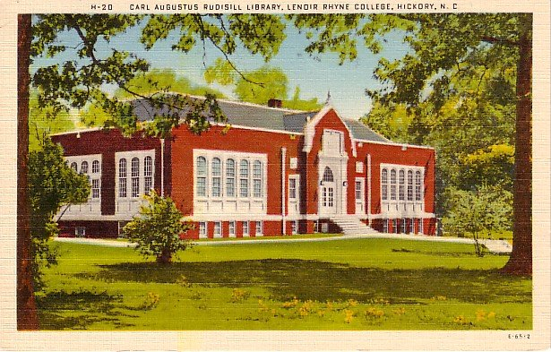 Rudisill Library at Lenoir Rhyme College in Hickory North Carolina NC Linen Postcard - 0700