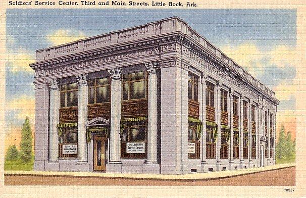 Soldiers Service Center in Little Rock Arkansas AR Linen Postcard - 0704