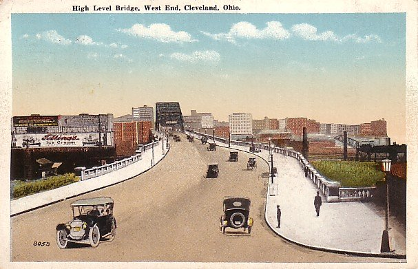 High Level Bridge in Cleveland Ohio OH, 1920 Vintage Postcard - 0716